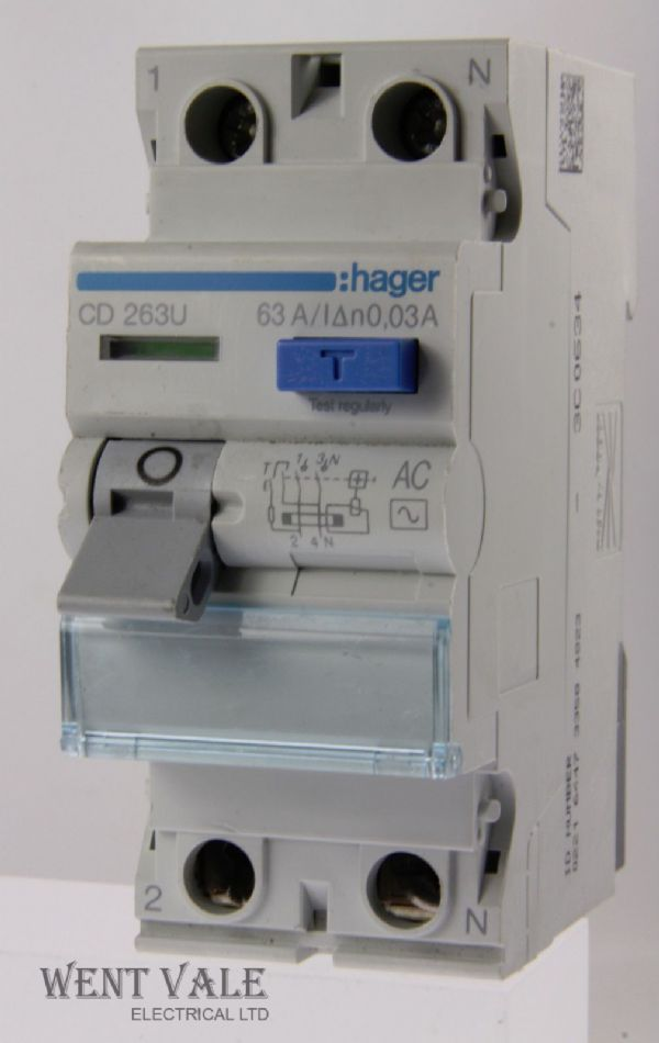 Hager CD263U - 63a 30mA Double Pole AC RCCB Used